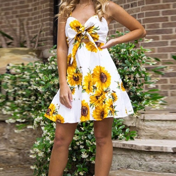 26bbc16eac7 White floral sunflower summer dress